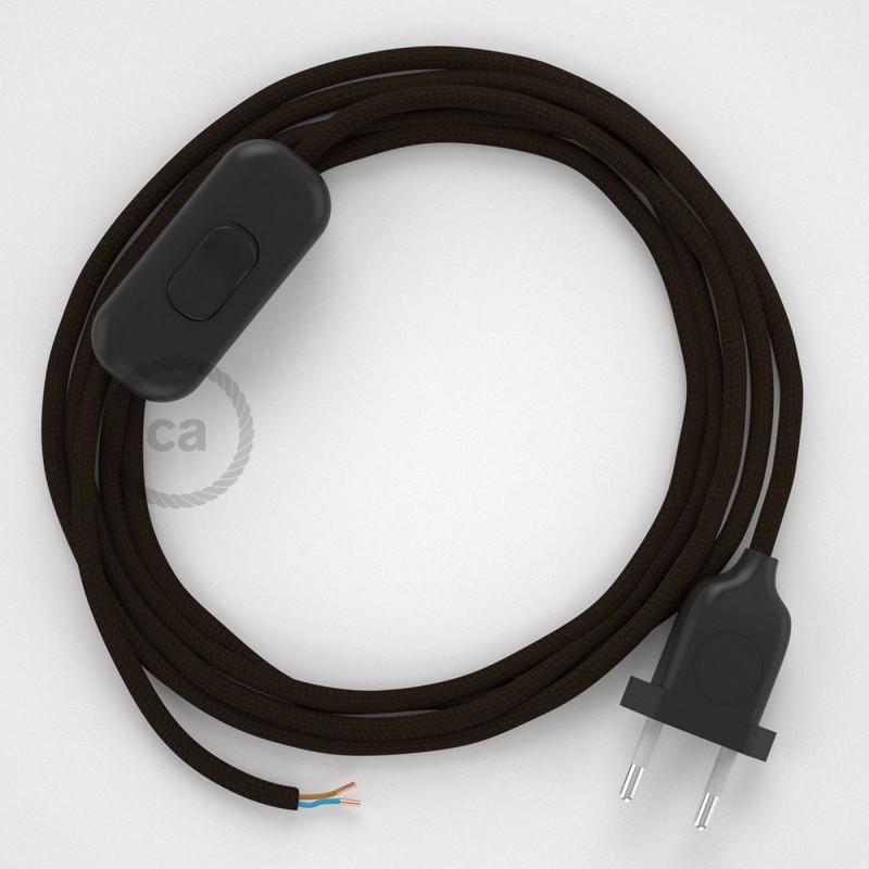Cordon pour lampe, câble RM13 Effet Soie Marron 1,80 m. Choisissez la couleur de la fiche et de l'interrupteur!