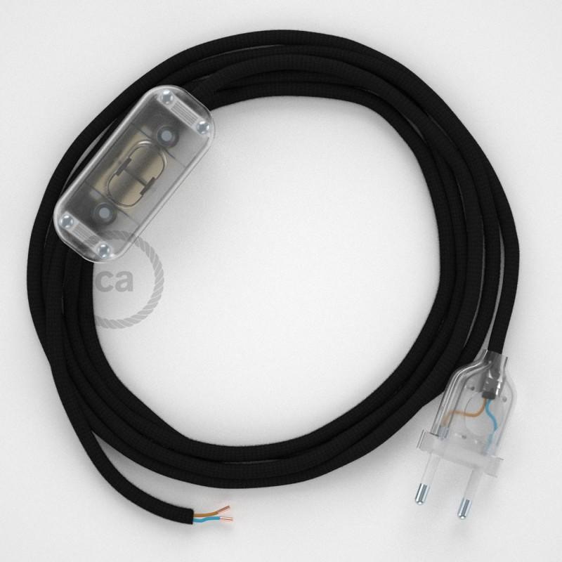 Cordon pour lampe, câble RM04 Effet Soie Noir 1,80 m. Choisissez la couleur de la fiche et de l'interrupteur!