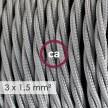 Cavo elettrico a larga sezione 3x1,50 trecciato - tessuto effetto seta Argento TM02