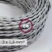 Textilkabel geflochten mit breitem Querschnitt 3x1,50 - Seideneffekt Silber TM02