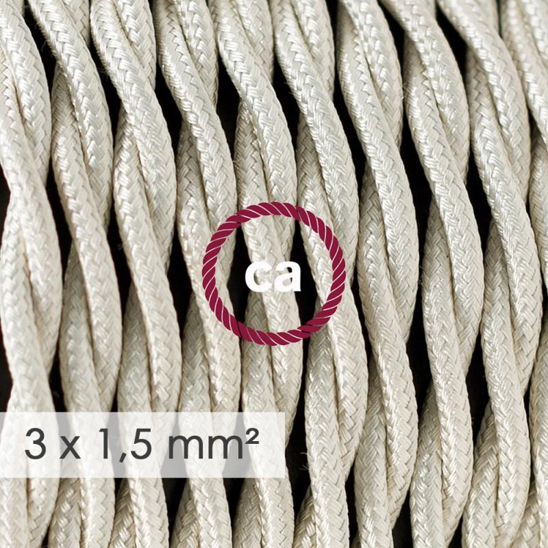 Cavo elettrico a larga sezione 3x1,50 trecciato - tessuto effetto seta Avorio TM00