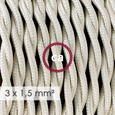 Fil Électrique De Large Section 3x1,50 Torsadé - Tissu Effet Soie Ivoire TM00