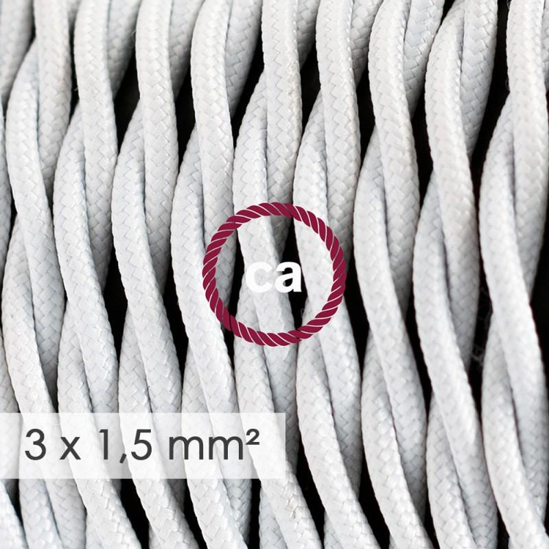 Fil Électrique De Large Section 3x1,50 Torsadé - Tissu Effet Soie Blanc TM01