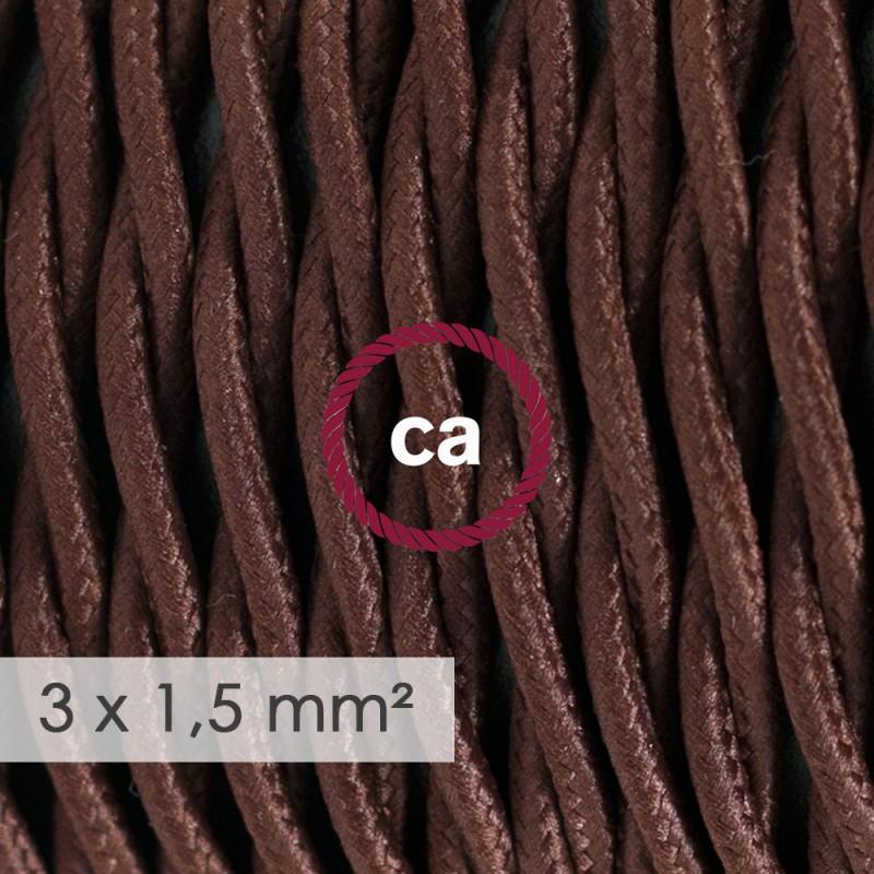Cavo elettrico a larga sezione 3x1,50 trecciato - tessuto effetto seta Marrone TM13