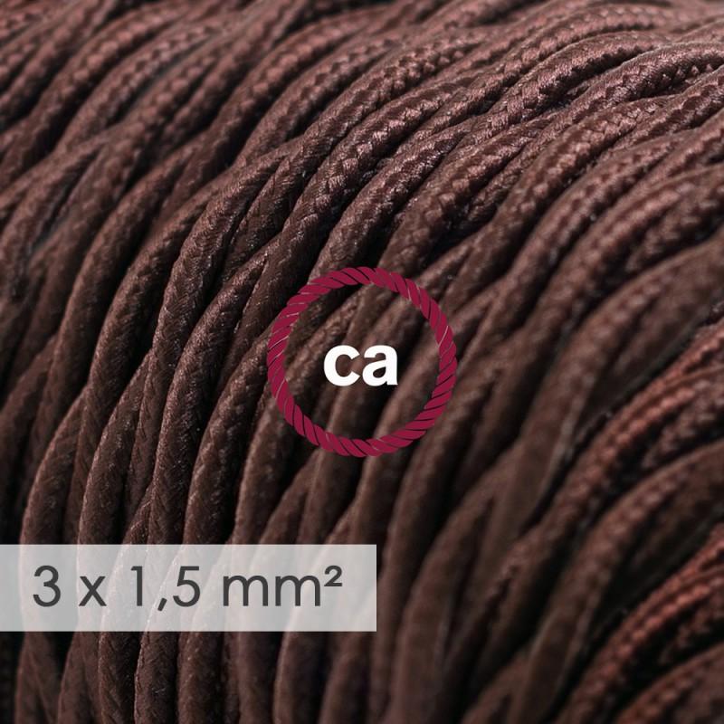 Textilkabel geflochten mit breitem Querschnitt 3x1,50 - Seideneffekt Braun TM13