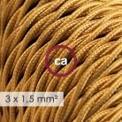 Cavo elettrico a larga sezione 3x1,50 trecciato - tessuto effetto seta Oro TM05