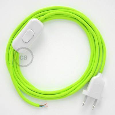 Cordon pour lampe, câble RF10 Effet Soie Jaune Fluo 1,80 m. Choisissez la couleur de la fiche et de l'interrupteur!