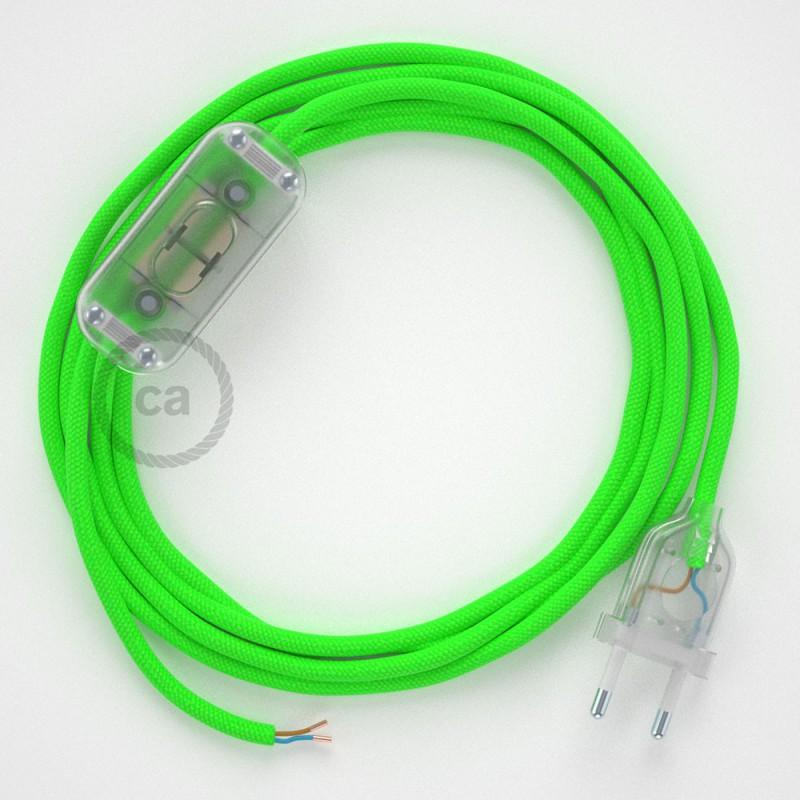 Zuleitung für Tischleuchten RF06 Grün Fluoreszierend Seideneffekt 1,80 m. Wählen Sie aus drei Farben bei Schalter und Stecke.