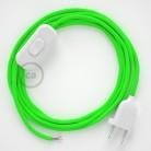 Cablaggio per lampada, cavo RF06 Effetto Seta Verde Fluo 1,80 m. Scegli il colore dell'interruttore e della spina.