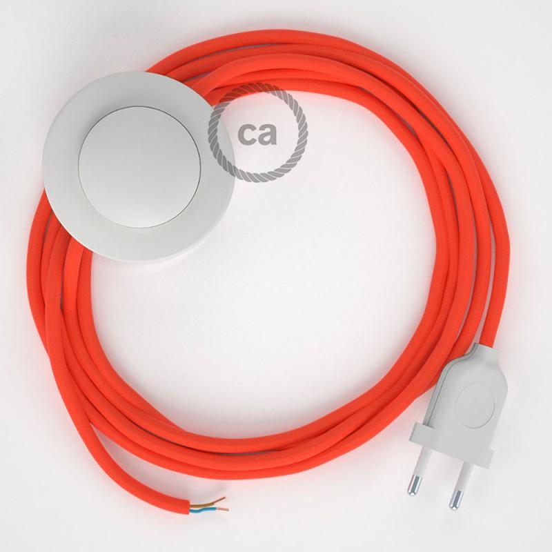 Stehleuchte Anschlussleitung RF15 Orange Fluoreszierend Seideneffekt 3 m. Wählen Sie aus drei Farben bei Schalter und Stecke.