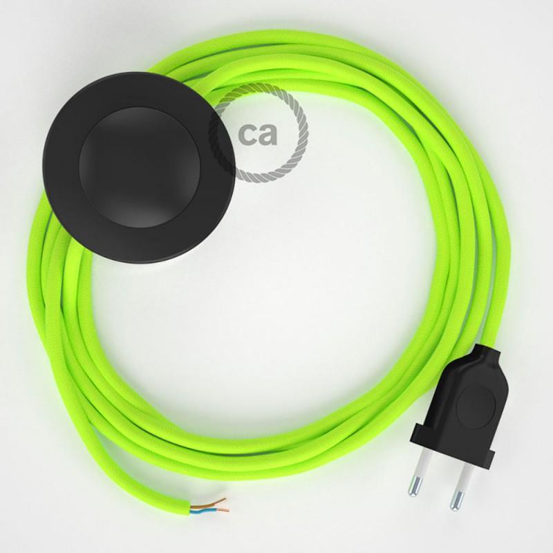 Stehleuchte Anschlussleitung RF10 Gelb Fluoreszierend Seideneffekt 3 m. Wählen Sie aus drei Farben bei Schalter und Stecke.