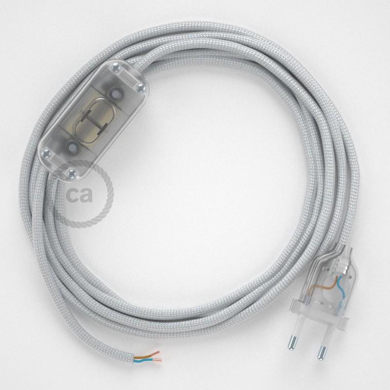 Cablaggio per lampada, cavo RM02 Effetto Seta Argento 1,80 m. Scegli il colore dell'interruttore e della spina.