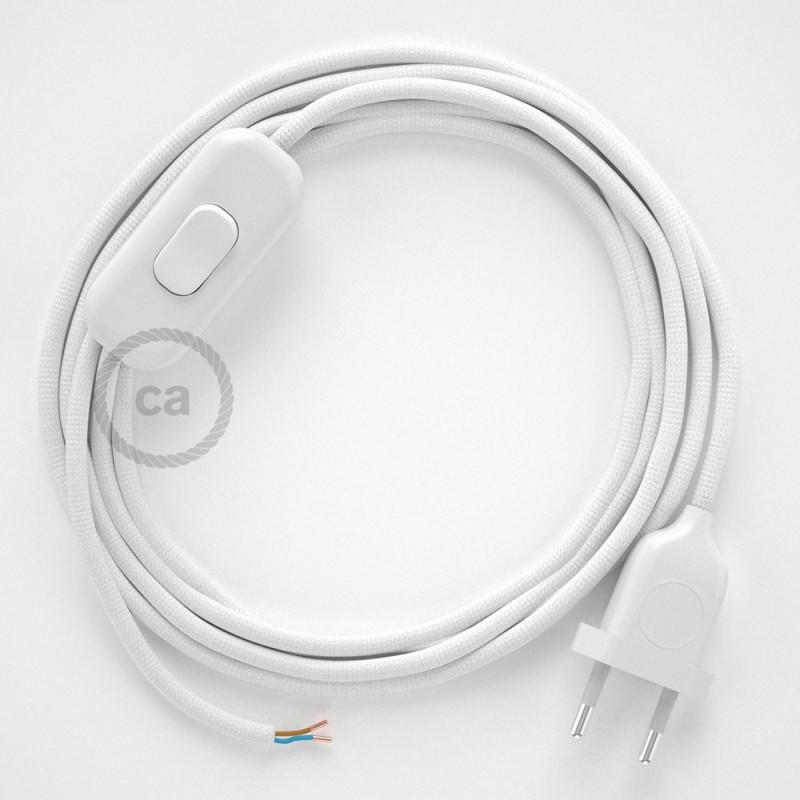 Cablaggio per lampada, cavo RM01 Effetto Seta Bianco 1,80 m. Scegli il colore dell'interruttore e della spina.