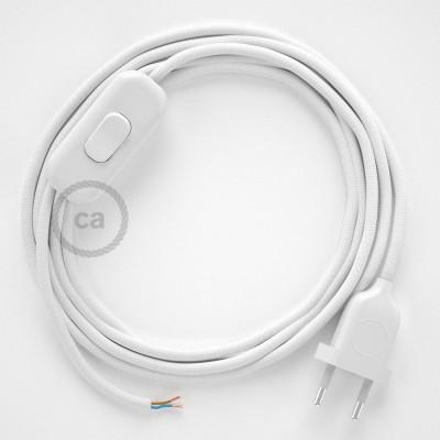 Cordon pour lampe, câble RM01 Effet Soie Blanc 1,80 m. Choisissez la couleur de la fiche et de l'interrupteur!