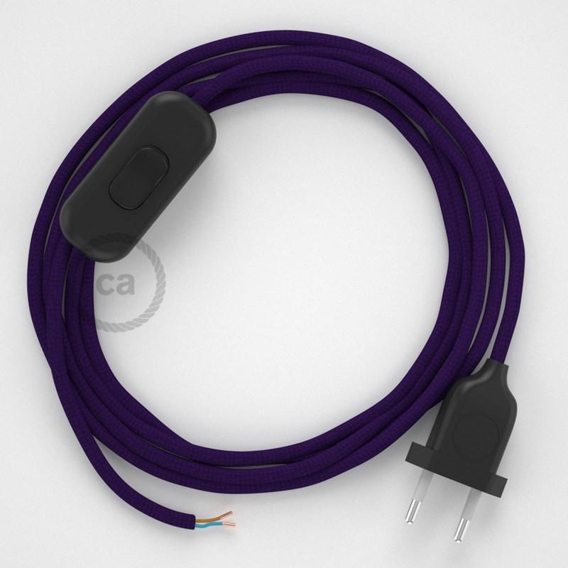 Cablaggio per lampada, cavo RM14 Effetto Seta Viola 1,80 m. Scegli il colore dell'interruttore e della spina.