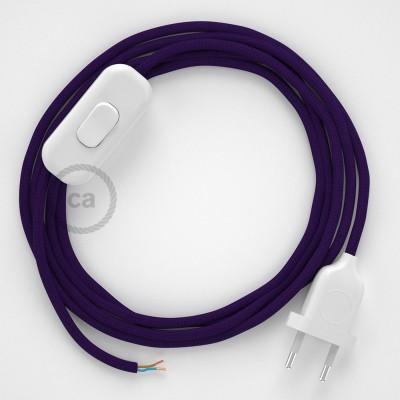 Zuleitung für Tischleuchten RM14 Violett Seideneffekt 1,80 m. Wählen Sie aus drei Farben bei Schalter und Stecke.