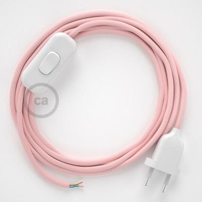 Cablaggio per lampada, cavo RM16 Effetto Seta Rosa Baby 1,80 m. Scegli il colore dell'interruttore e della spina.