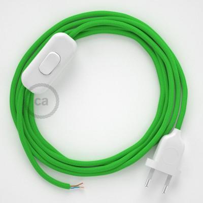 Cordon pour lampe, câble RM18 Effet Soie Vert Lime 1,80 m. Choisissez la couleur de la fiche et de l'interrupteur!