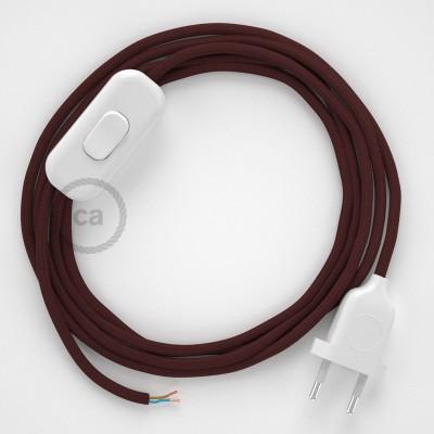 Cordon pour lampe, câble RM19 Effet Soie Bordeaux 1,80 m. Choisissez la couleur de la fiche et de l'interrupteur!