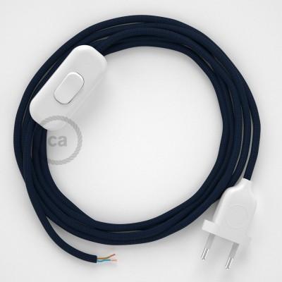 Cordon pour lampe, câble RM20 Effet Soie Bleu Foncé 1,80 m. Choisissez la couleur de la fiche et de l'interrupteur!