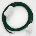 Cablaggio per lampada, cavo RM21 Effetto Seta Verde Scuro 1,80 m. Scegli il colore dell'interruttore e della spina.