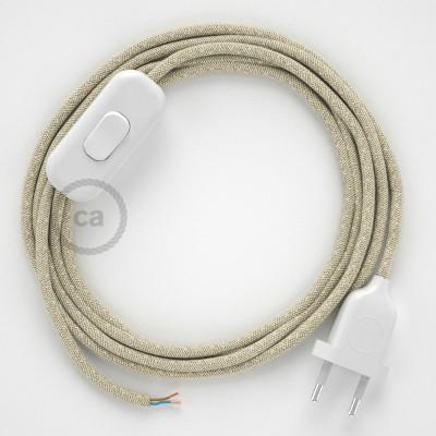 Cablaggio per lampada, cavo RN01 Lino Naturale Neutro 1,80 m. Scegli il colore dell'interruttore e della spina.