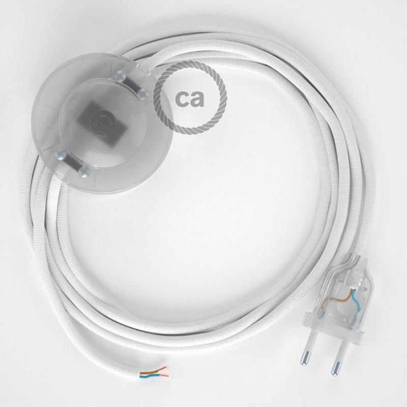 Stehleuchte Anschlussleitung RM01 Weiß Seideneffekt 3 m. Wählen Sie aus drei Farben bei Schalter und Stecke.