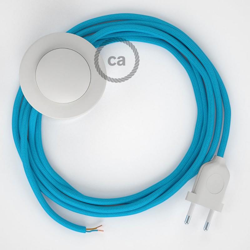 Stehleuchte Anschlussleitung RM11 Himmelblau Seideneffekt 3 m. Wählen Sie aus drei Farben bei Schalter und Stecke.