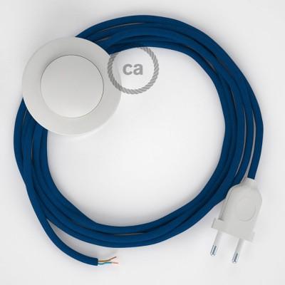 Cordon pour lampadaire, câble RM12 Effet Soie Bleu 3 m. Choisissez la couleur de la fiche et de l'interrupteur!