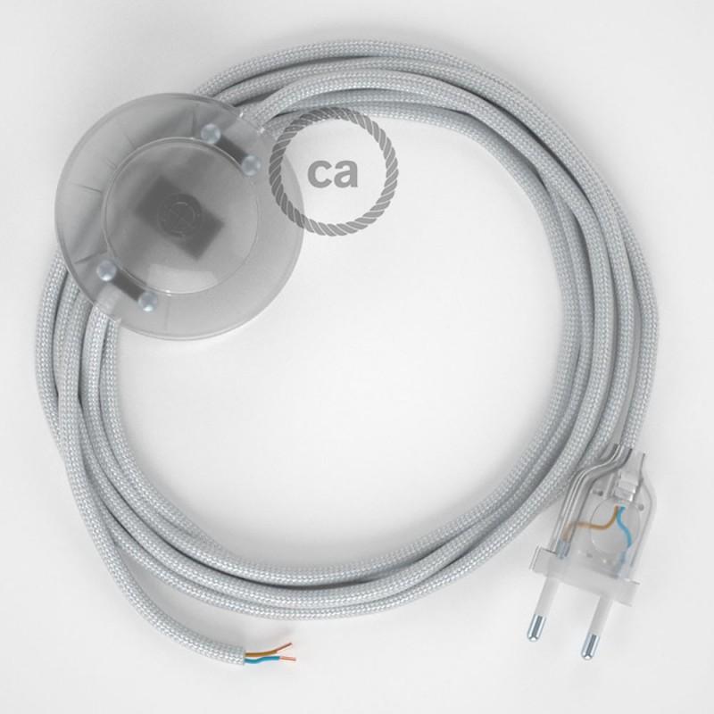 Cablaggio per piantana, cavo RM02 Effetto Seta Argento 3 m. Scegli il colore dell'interruttore e della spina.
