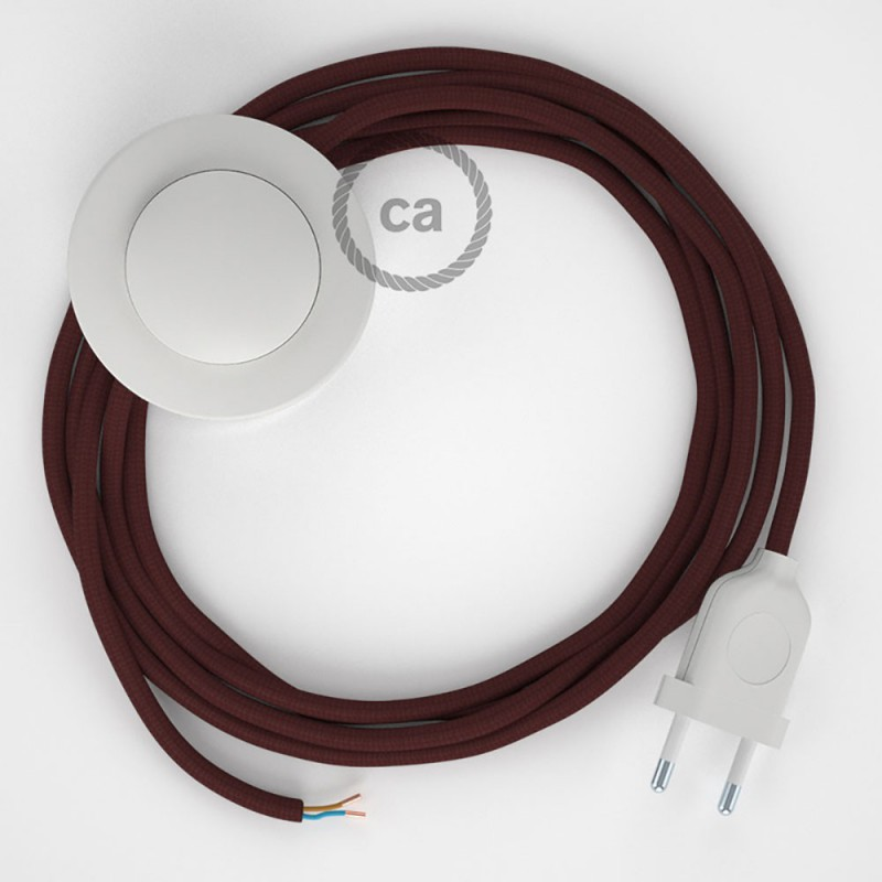 Stehleuchte Anschlussleitung RM19 Bordeaux Seideneffekt 3 m. Wählen Sie aus drei Farben bei Schalter und Stecke.