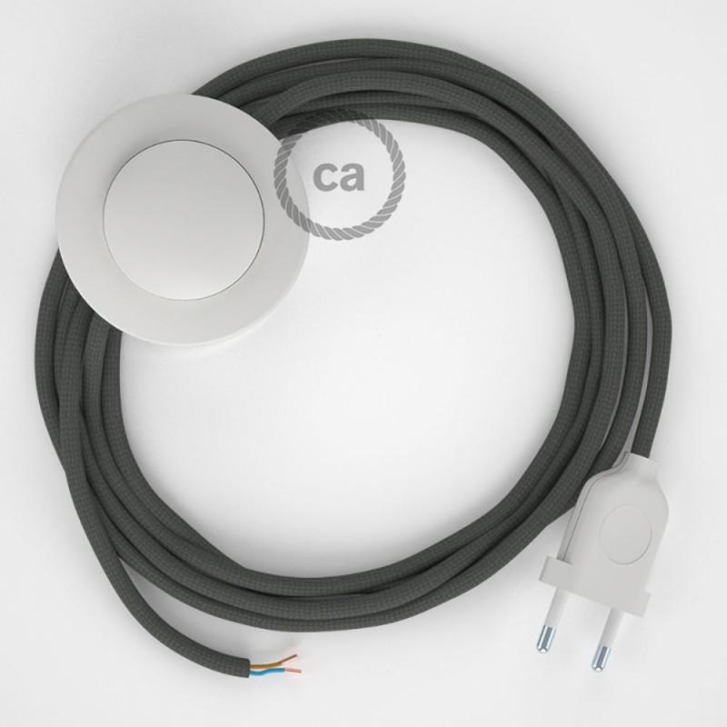 Stehleuchte Anschlussleitung RM03 Grau Seideneffekt 3 m. Wählen Sie aus drei Farben bei Schalter und Stecke.