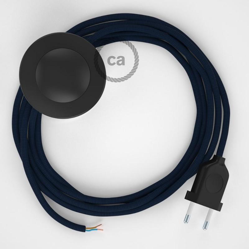 Stehleuchte Anschlussleitung RM20 Dunkelblau Seideneffekt 3 m. Wählen Sie aus drei Farben bei Schalter und Stecke.