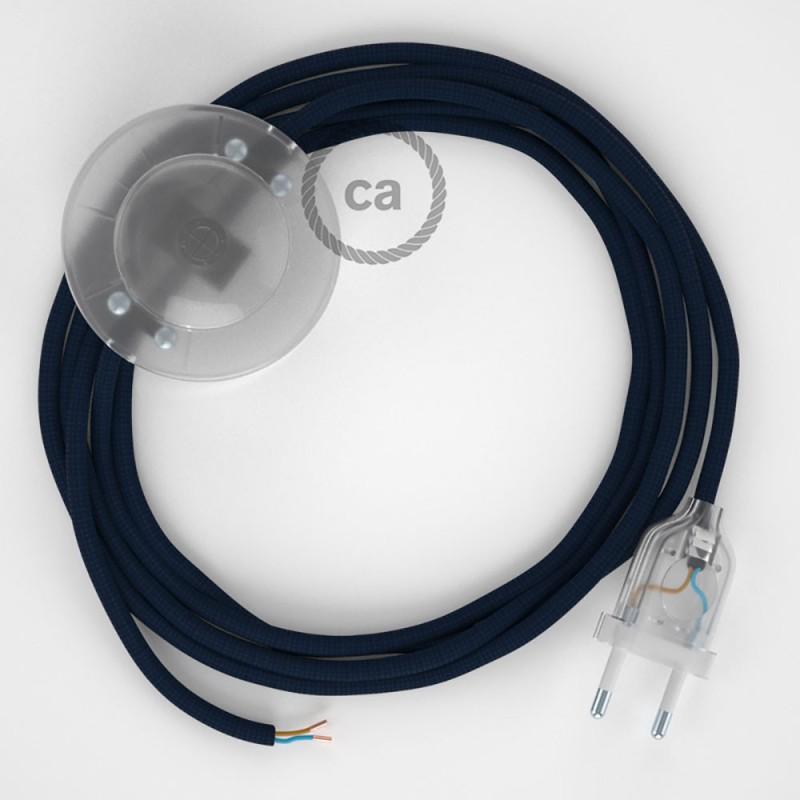 Cablaggio per piantana, cavo RM20 Effetto Seta Blu scuro 3 m. Scegli il colore dell'interruttore e della spina.