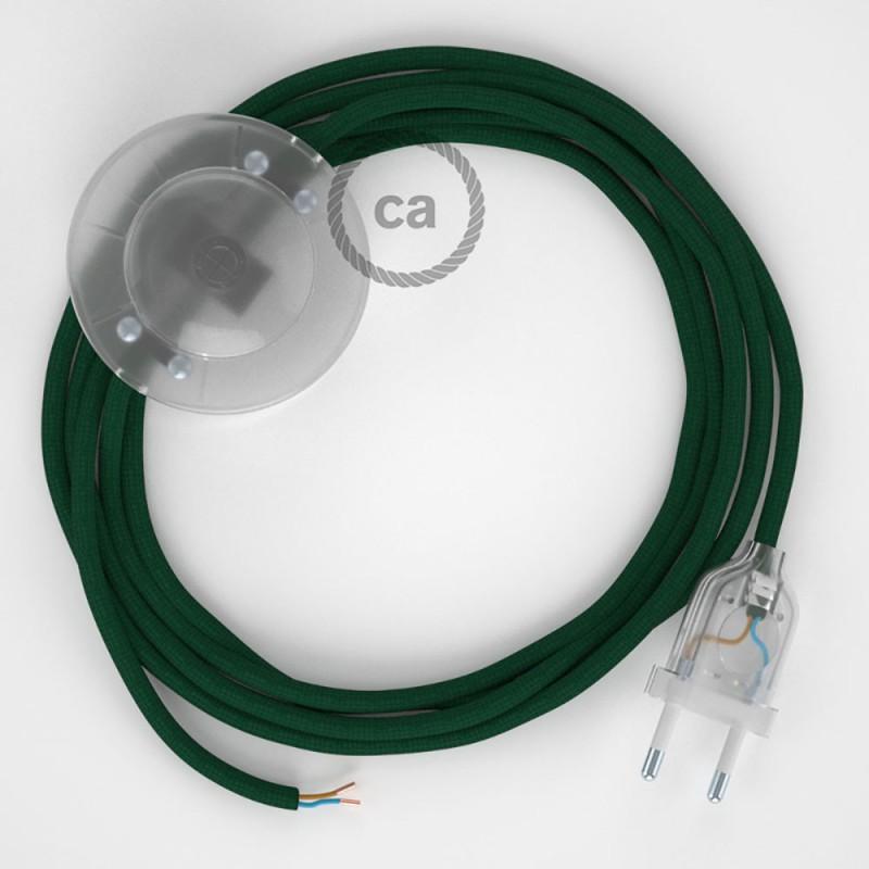 Cablaggio per piantana, cavo RM21 Effetto Seta Verde Scuro 3 m. Scegli il colore dell'interruttore e della spina.