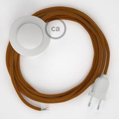 Cordon pour lampadaire, câble RM22 Effet Soie Whiskey 3 m. Choisissez la couleur de la fiche et de l'interrupteur!