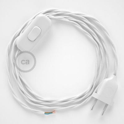 Cablaggio per lampada, cavo TM01 Effetto Seta Bianco 1,80 m. Scegli il colore dell'interruttore e della spina.