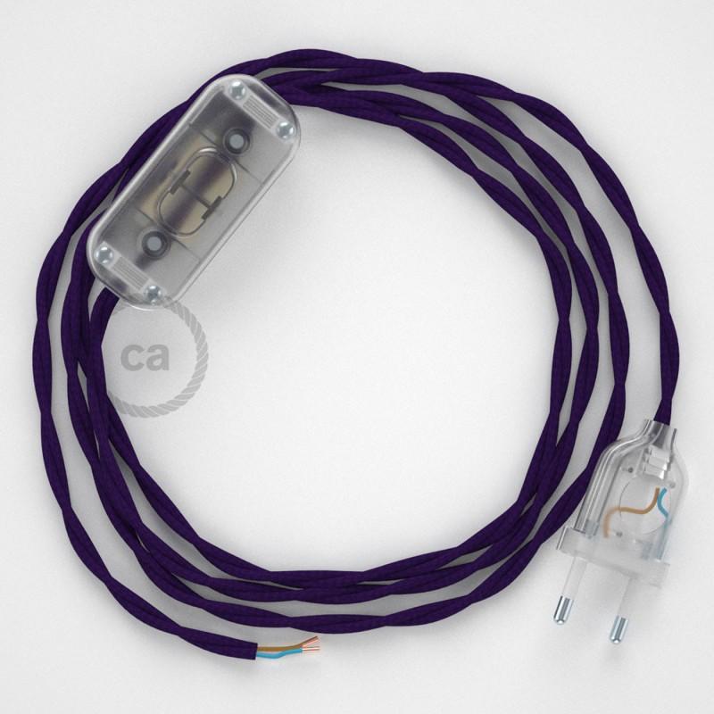 Cablaggio per lampada, cavo TM14 Effetto Seta Viola 1,80 m. Scegli il colore dell'interruttore e della spina.