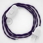 Zuleitung für Tischleuchten TM14 Violett Seideneffekt 1,80 m. Wählen Sie aus drei Farben bei Schalter und Stecke.