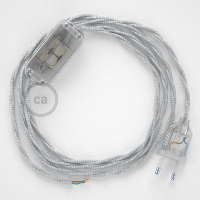 Cablaggio per lampada, cavo TM02 Effetto Seta Argento 1,80 m. Scegli il colore dell'interruttore e della spina.