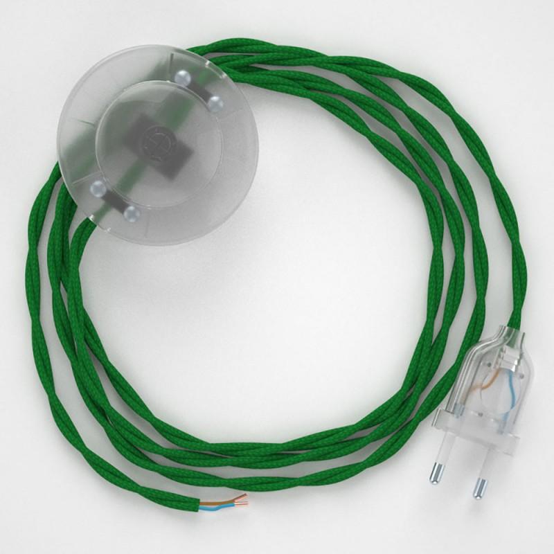 Stehleuchte Anschlussleitung TM06 Grün Seideneffekt 3 m. Wählen Sie aus drei Farben bei Schalter und Stecke.