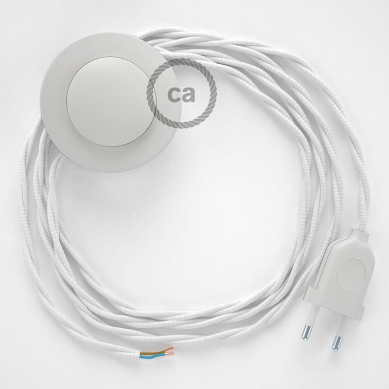 Stehleuchte Anschlussleitung TM01 Weiß Seideneffekt 3 m. Wählen Sie aus drei Farben bei Schalter und Stecke.