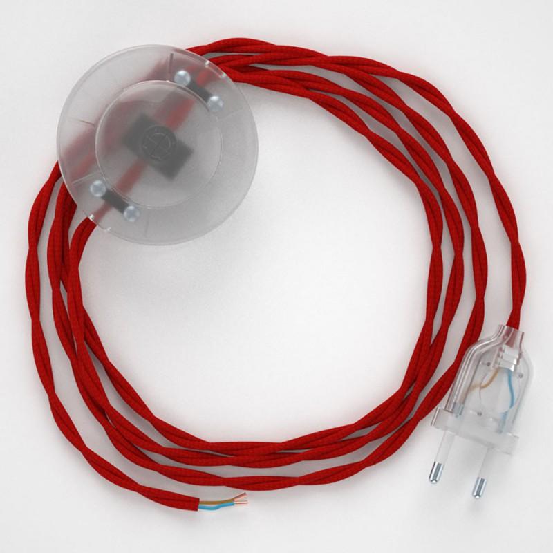 Cablaggio per piantana, cavo TM09 Effetto Seta Rosso 3 m. Scegli il colore dell'interruttore e della spina.
