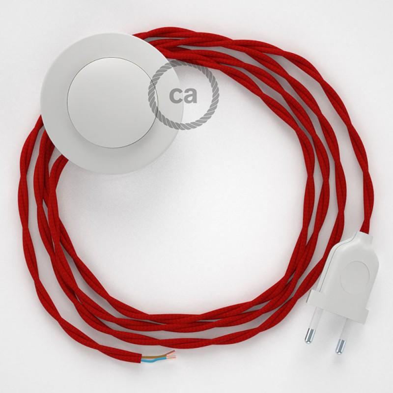 Stehleuchte Anschlussleitung TM09 Rot Seideneffekt 3 m. Wählen Sie aus drei Farben bei Schalter und Stecke.
