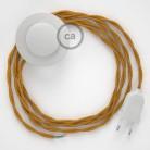 Cablaggio per piantana, cavo TM05 Effetto Seta Oro 3 m. Scegli il colore dell'interruttore e della spina.
