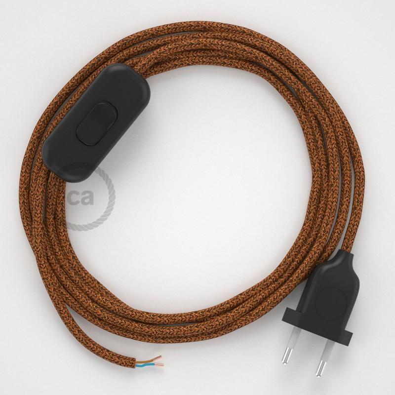 Cablaggio per lampada, cavo RL22 Effetto Seta Glitterato Rame 1,80 m. Scegli il colore dell'interruttore e della spina.