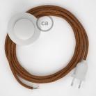 Cordon pour lampadaire, câble RL22 Effet Soie Paillettes Cuivre 3 m. Choisissez la couleur de la fiche et de l'interrupteur!