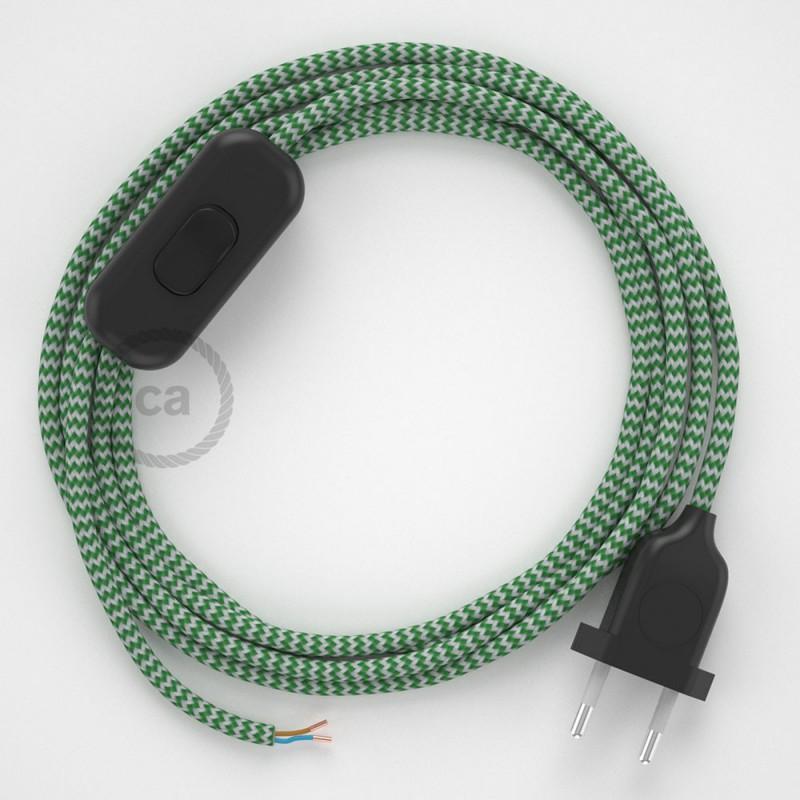 Zuleitung für Tischleuchten RZ06 Zick-Zack Weiß Grün Seideneffekt 1,80 m. Wählen Sie aus drei Farben bei Schalter und Stecke.