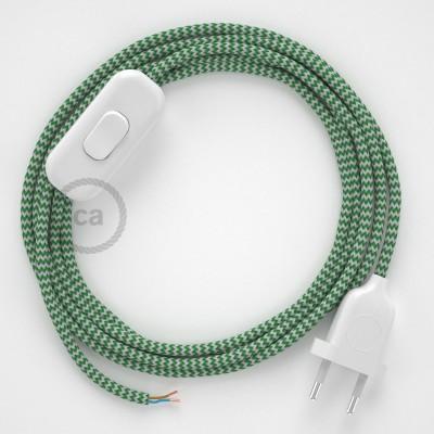 Cordon pour lampe, câble RZ06 Effet Soie ZigZag Blanc-Vert 1,80 m. Choisissez la couleur de la fiche et de l'interrupteur!