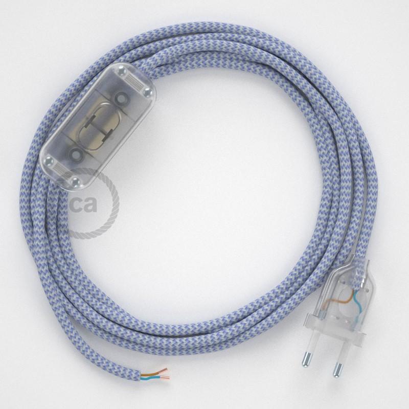 Cablaggio per lampada, cavo RZ07 Effetto Seta ZigZag Lilla 1,80 m. Scegli il colore dell'interruttore e della spina.